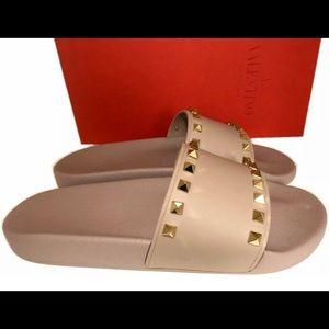 Valentino Beige Rock Stud Flat Slides Sandals